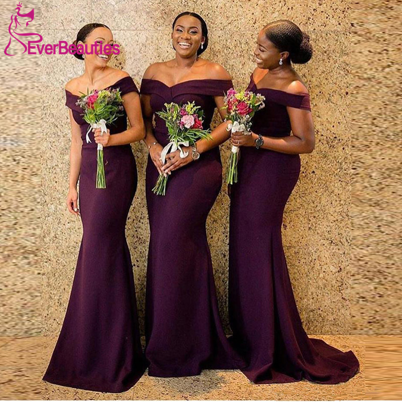 Sexy Off Shoulder   Bridesmaid     Dresses   2019 Purple Satin Long Mermaid Maid Of Honor   Dress   For Women Lace Up Back