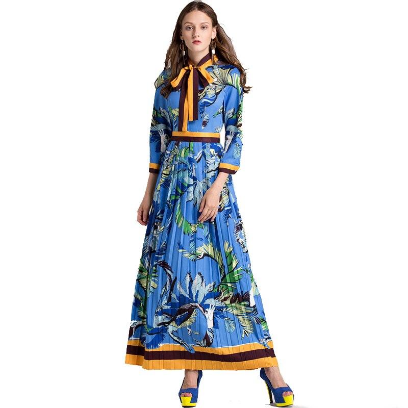2018 femmes nouvelle piste Vintage arc Empire Animal imprimer mince cheville-longueur plissée dame robe Maxi longue plissée grande taille robes