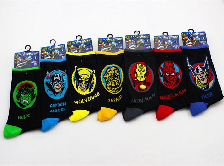 Men Socks Cartoon Iron Man Captain America Knee-High Socks Marvel Comics Spiderman The Hulk Thor Antiskid Casual Crew Socks