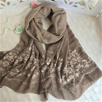 Hot Sales Japan Ethnic Floral Embroidery Scarf Women Long Cotton Viscose Scarves Lady Beach Hijab Shawl Foulard Cape 200*95 CM