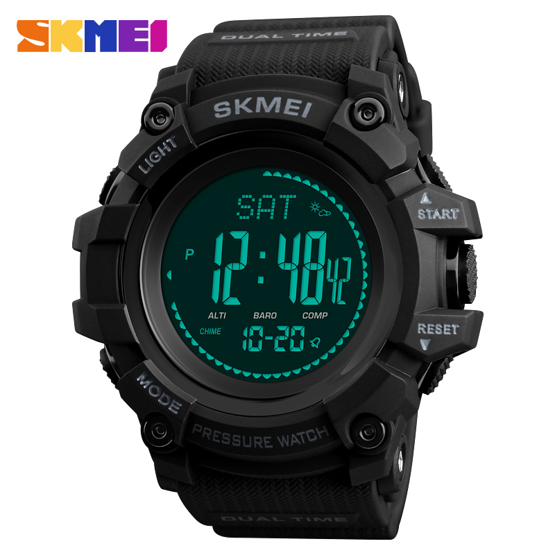 <font><b>SKMEI</b></font> Mens Sports Watches 24 Hours Pedometer Calories Digital Watch Altimeter Barometer Compass Thermometer Weather Men Watch image