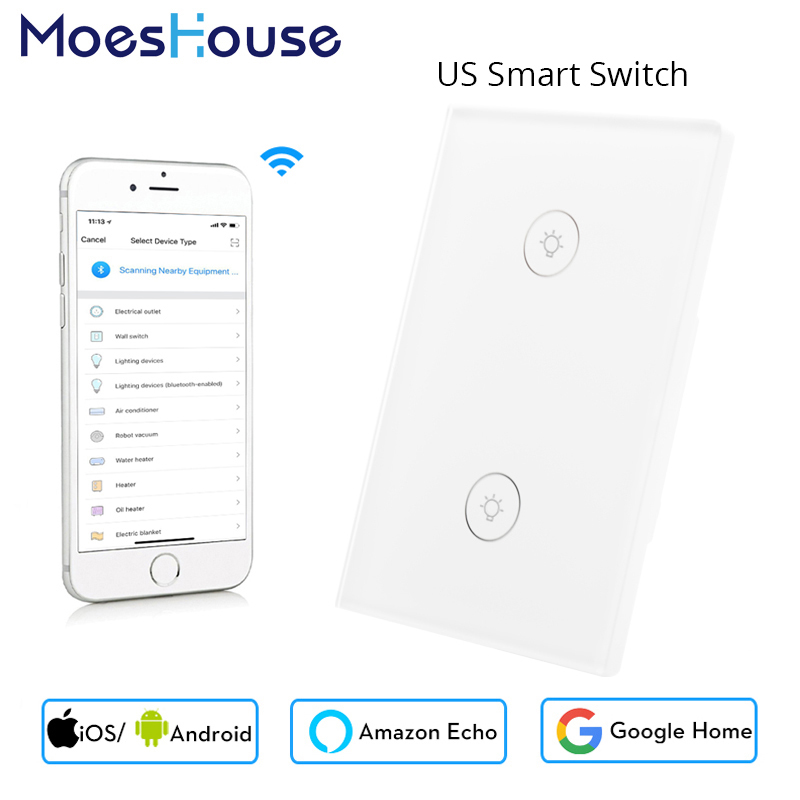 US 2 Gang Wifi Smart Wall Touch Switch Glass Panel APP Remote Control No Hub Required For Smart Life