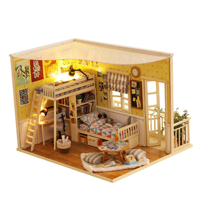 ФОТО Diy Miniature Wooden Doll House Furniture Kits Toys Handmade Craft Miniature Model Kits DollHouse Toys Gift For Children CF01