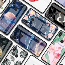 Comfortable smooth Tempered Glass phone case for oneplus 7 pro Flamingo owl sky pattern for Asus ZB602KL 631KL 633KL Cover Coque