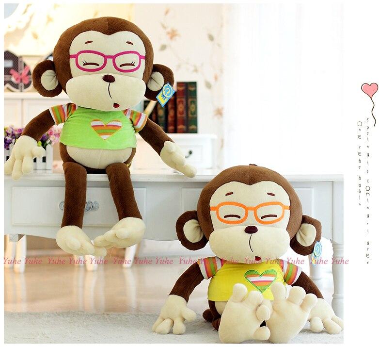 Super sweet 1pc 50cm cartoon glasses doctor monkey plush hold font b doll b font pillow