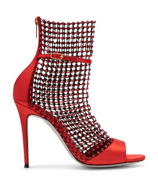 Luxury Red Velvet Women Sandals Bling Bling Crystal Embellished Hollow Mesh Wedding Shoes Bride Gladiator Peep Toe Dress Shoes in Women 39 s Pumps from Shoes