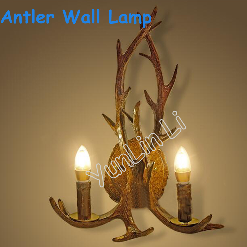 Antlers Wall lamp American Style Lighting Retro Resin Antler Wall Lamp Personality Creative Antlers Wall Lamp 1006