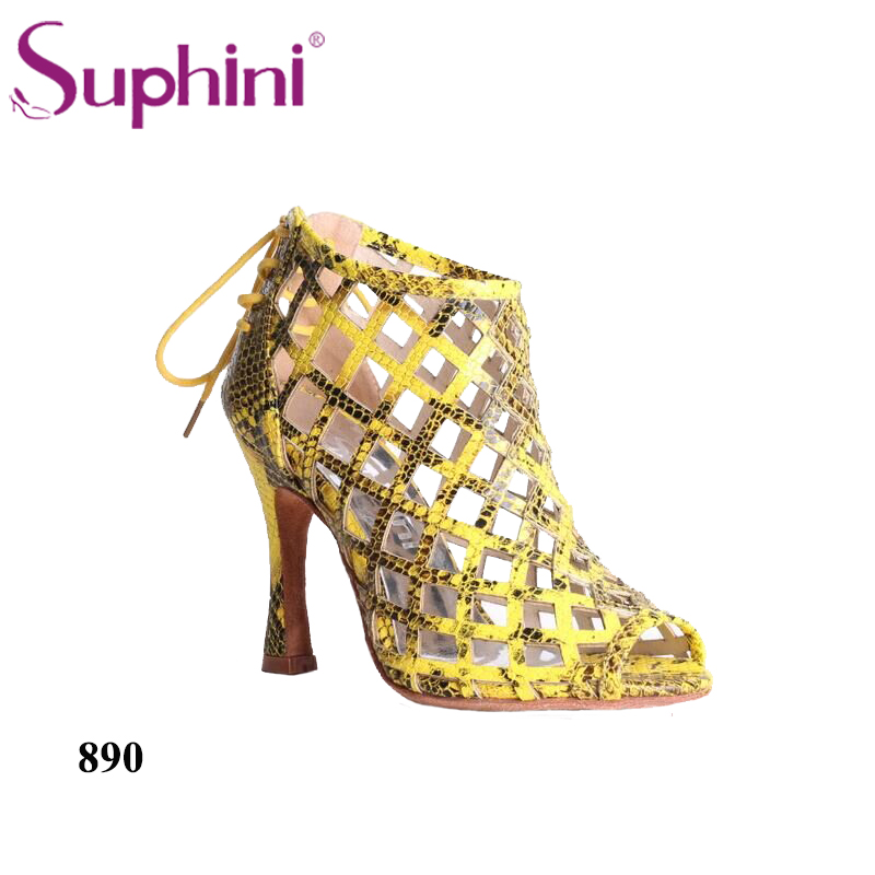 Free Shipping Suphini Banquet Shoes Sexy Snake Skin Latin Salsa Tango Lace up Dance Boots