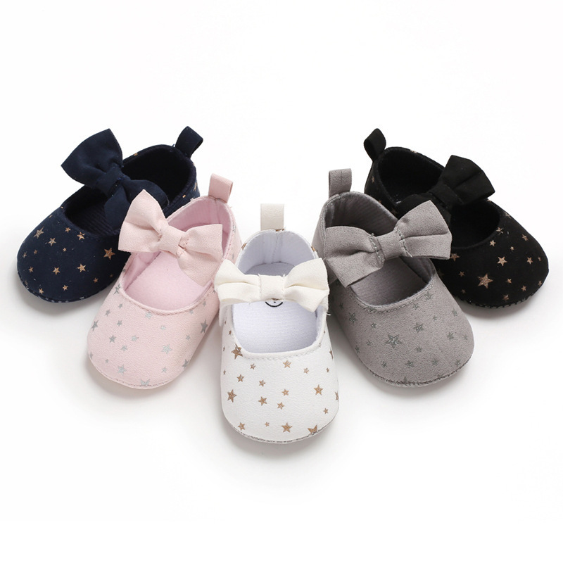 2019 Toddler Newborn Baby Crib Shoes Bow Embroidery Princess Baby Soft Sole Anti-Slip Prewalker For Baby Girls First Walk