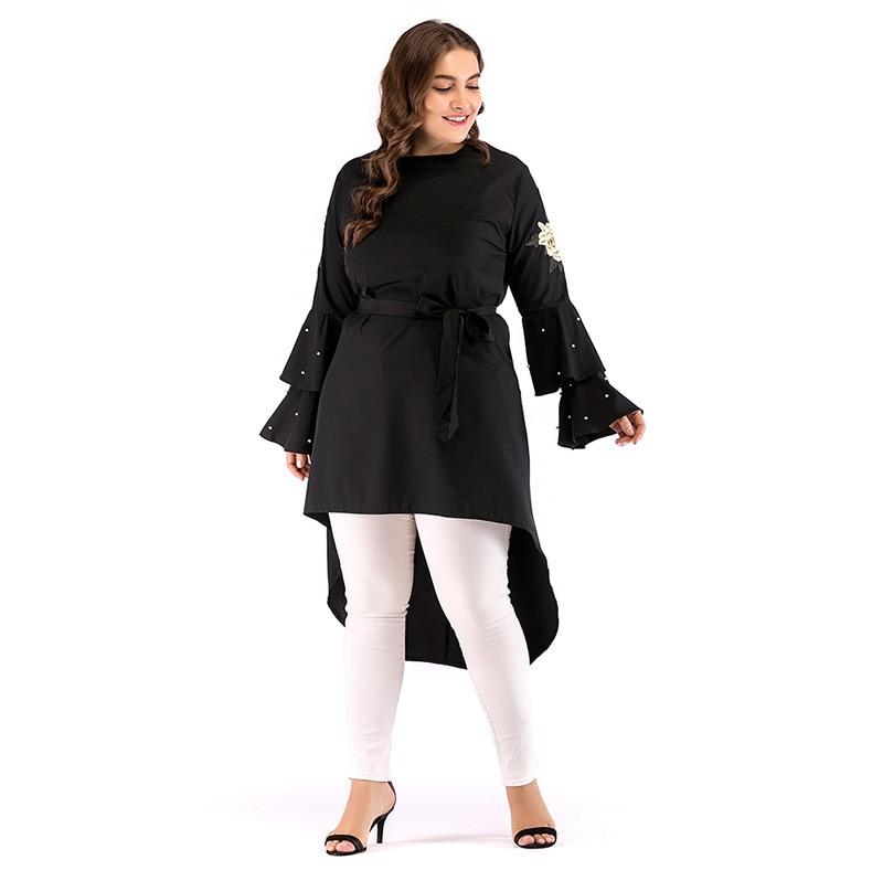 Plus size Adult embroidery muslimah Abayas irregular Trailing Islamic Clothing Female Long-sleeved Arab Shirt Wq1194 dropship