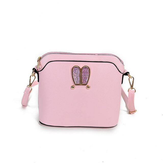 Hot Sale Women Girl Rabbit Ears Design Shoulder Messenger Bag Pink Sweet  Cameo Shell Bag Ladies Casual Handbag Bolsas Feminina 029991cebb639