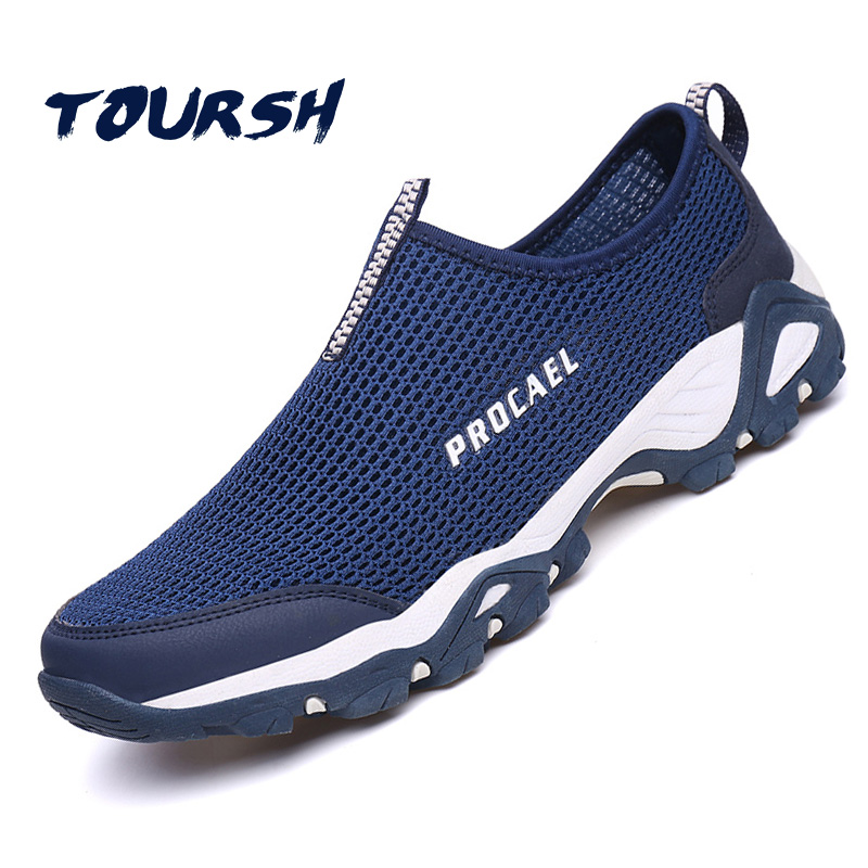 TOURSH Breathable Mesh Summer Men Casual Shoes Super Light Flats Shoes Slip On Male Fashion tenis masculino adulto Size 39-44 2017 new fashion men casual shoes slip on summer breathable hole shoes eva outdoor light shoes zapatos hombre size 39 44 la201m