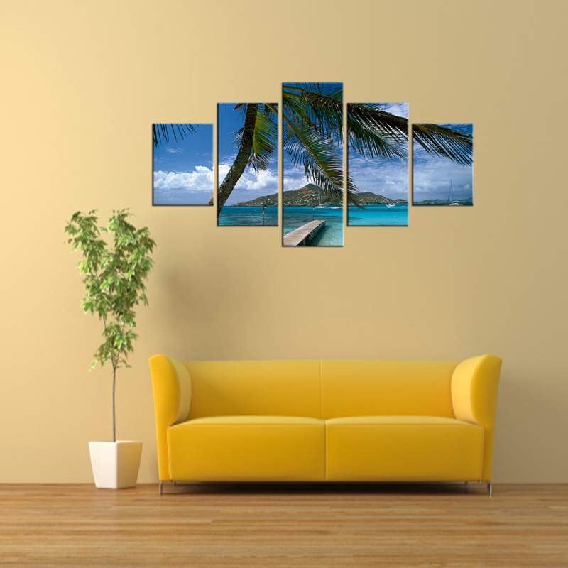 5 Pieces Coconut Tree Blue Sky And Ocean Beach Home Wall Decor ...