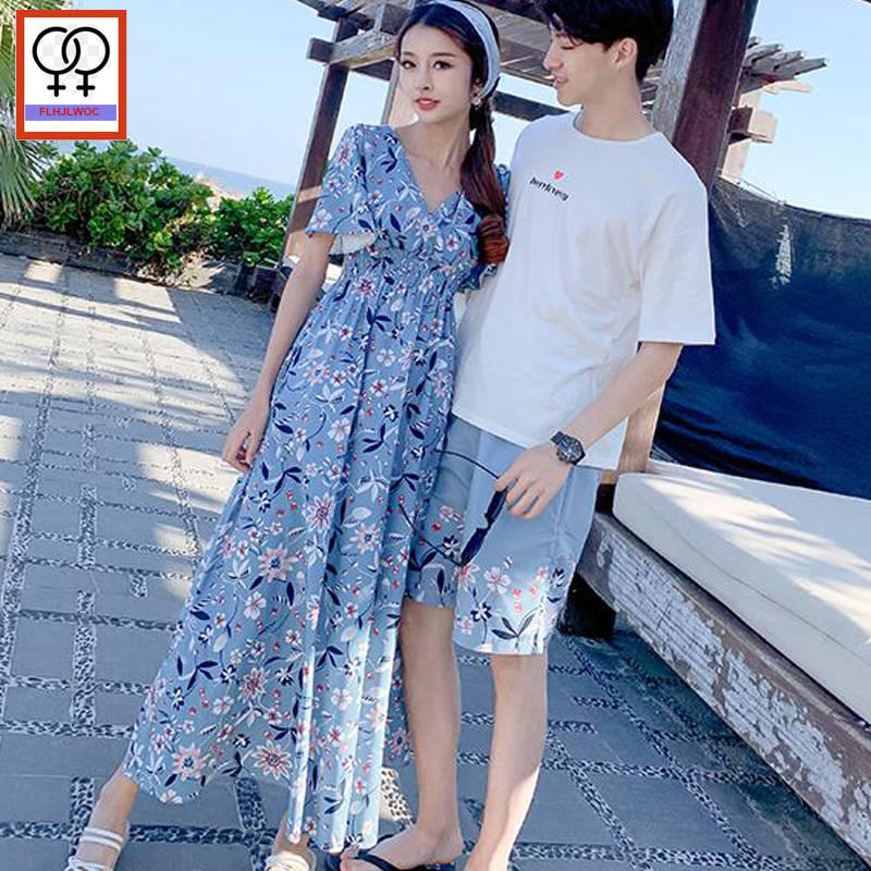 2019 Summer Matching Couple Clothes Lovers Honeymoon Holiday Wear V Neck Dress Cute Slim Waist Chiffon Bohemian Long Maxi Dress camiseta para quemar grasa