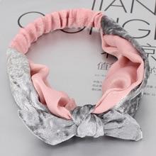 3pcs Womens Burgundy Turban Headband Velvet Bow Knot Headband Headwrap Bows Elastic Hair Bands