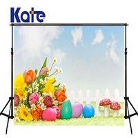 5x7ft Kate Paskalya Çiçek Arka Plan Açık Gök Çok boyutu Reable Arka Plan Çocuk Parlak Fotoğraf Bez