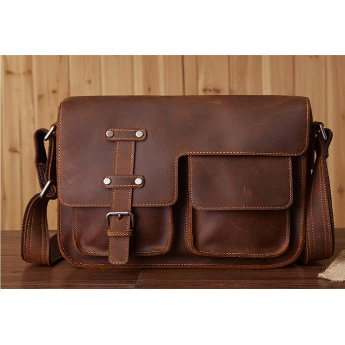 2018 Genuine Leather brown black Bags Men High Quality Messenger Bags Small Travel khaki Crossbody Shoulder Bag For Men