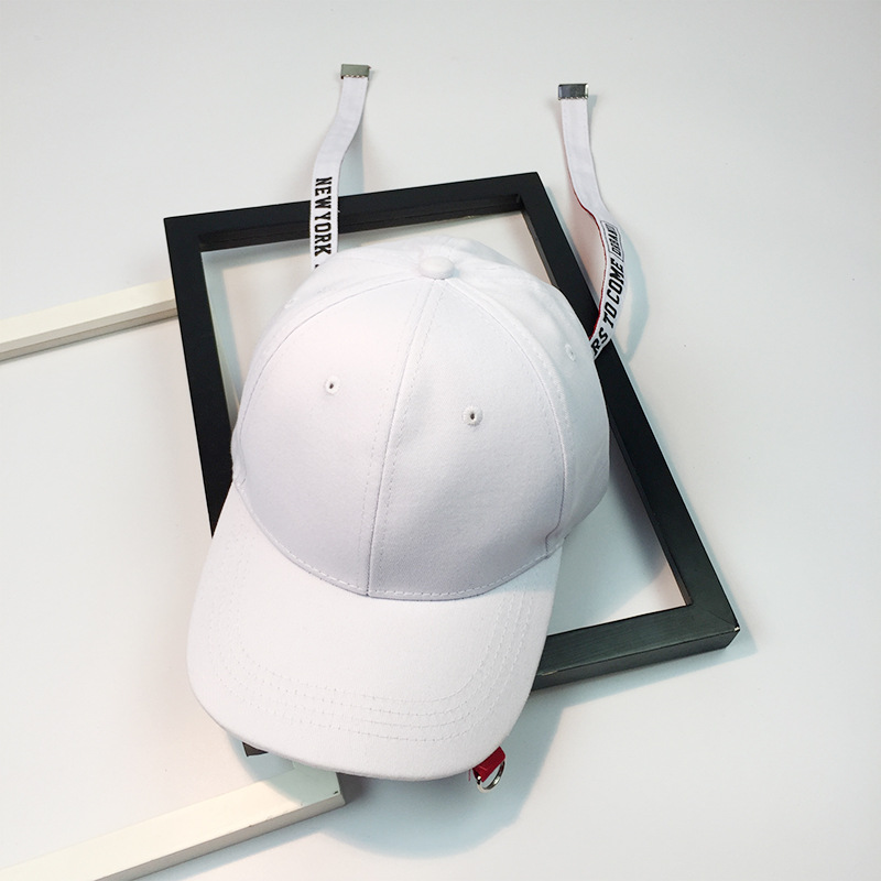 fb6fb0d5cec Fashion structured Cotton Baseball Cap Adjustable Unisex Hat two long belt  Embroidery letter Adjustable Hip Hop Snapback Hat-in Baseball Caps from  Apparel ...