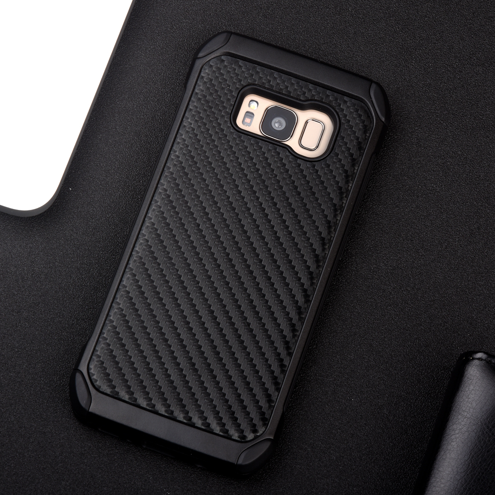 Samsung Galaxy S8 S8 Plus Carbon Fiber Texture PC+TPU 2 In1 Anti-Knock Protective Back Cover For G950 G955