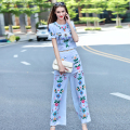 2016 Autumn Vintage Fashion Women Girls Patterns Print Short Sleeve Tops Blouse + Wide Leg Pants Suit Two Piece Set Casual W745