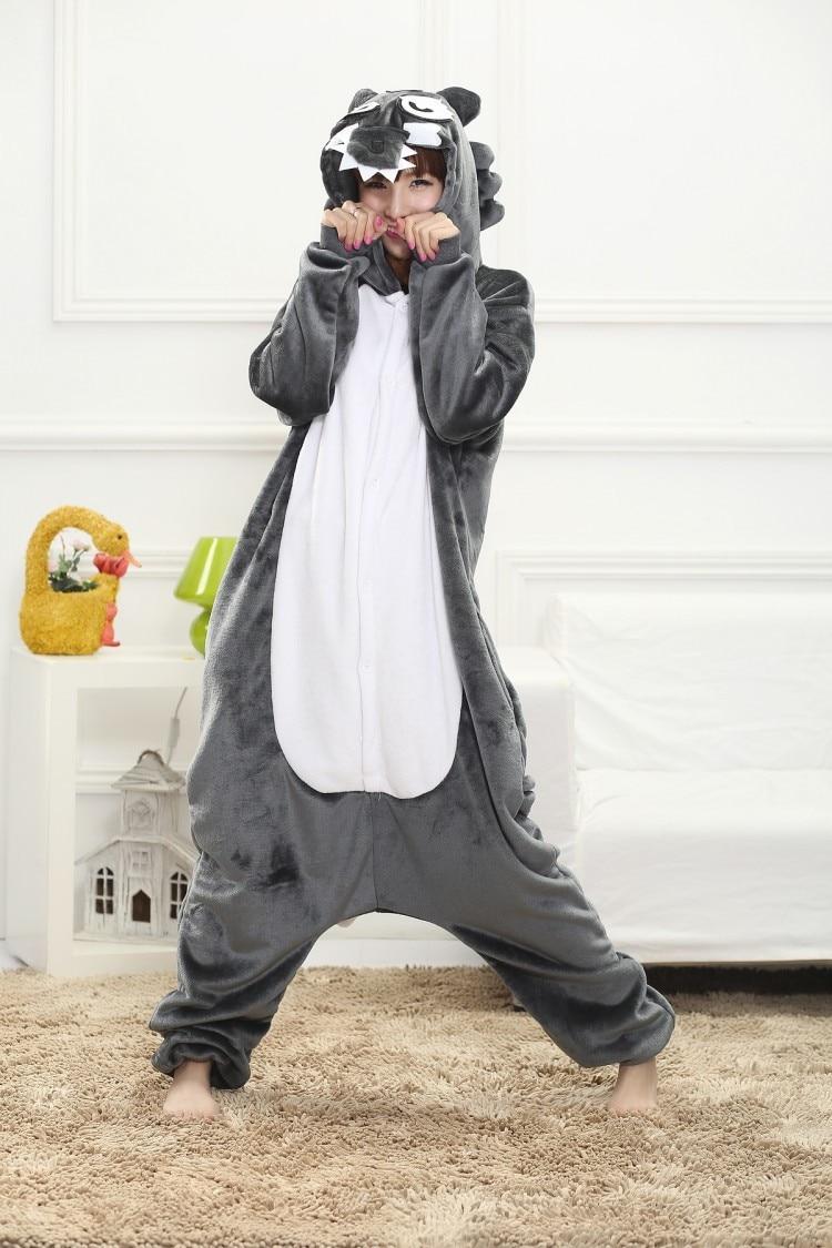 Winter Warm big gray Wolf cosplay Pajama Sleepwear Onesie for Adult Pajamas Men Women Home Wear Halloween costume