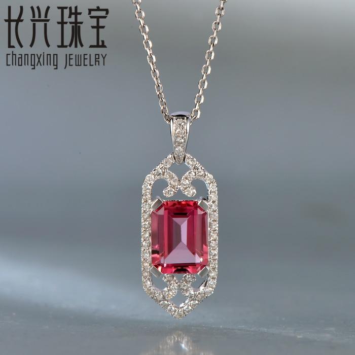 Hot sale 1.98ctw 7x9mm 14Kt Ouro Branco Natural Diamante Esmeralda Cut Turmalina  Rosa Charme Pingente para elegante senhora fce4c58088