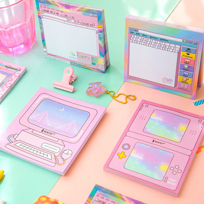 Japanese Design Retro Sticky Note Pink Color Compute Game Pad Memo Label Stationery Girl Gift Office School Supplies A6459
