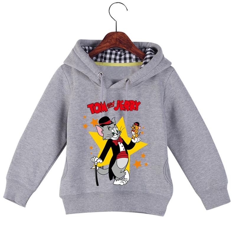 Jiuhehall Good Quality Boy Girl Plus Velvet Sweatshirts Cat and Mouse Print Kids Hooded Hoodie Cotton Children\'s Pullover GCM130 (3)