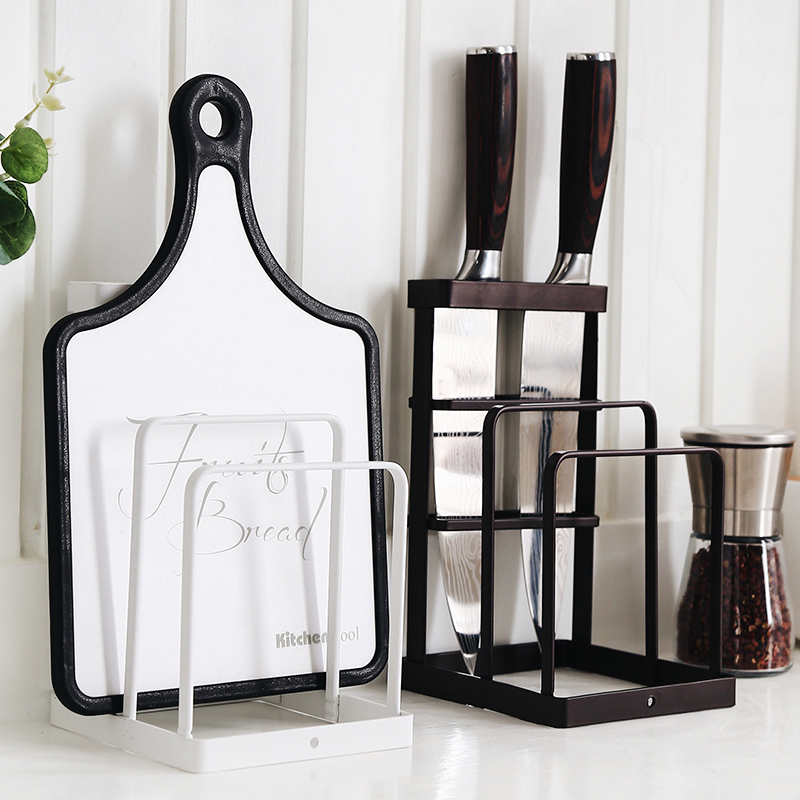 Japanese Wrought Iron Knives Shelf Racks Kitchen Supplies Cutting Board Tray Rack Drain Rack Storage Blocks Kitchen Shelf Pan