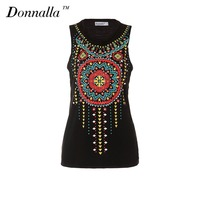 Donnalla T Shirt Women Summer Sleeveless Printing Slim Female Soft O Neck Casual Tee Tops Vest