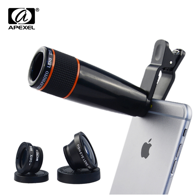 4 in 1 Clip-On 12X Telescope Zoom Optical Lens with FishEye Lens and Macro&Wide Lens for iPhone 6S plus Samsung Xiaomi APL-12X85