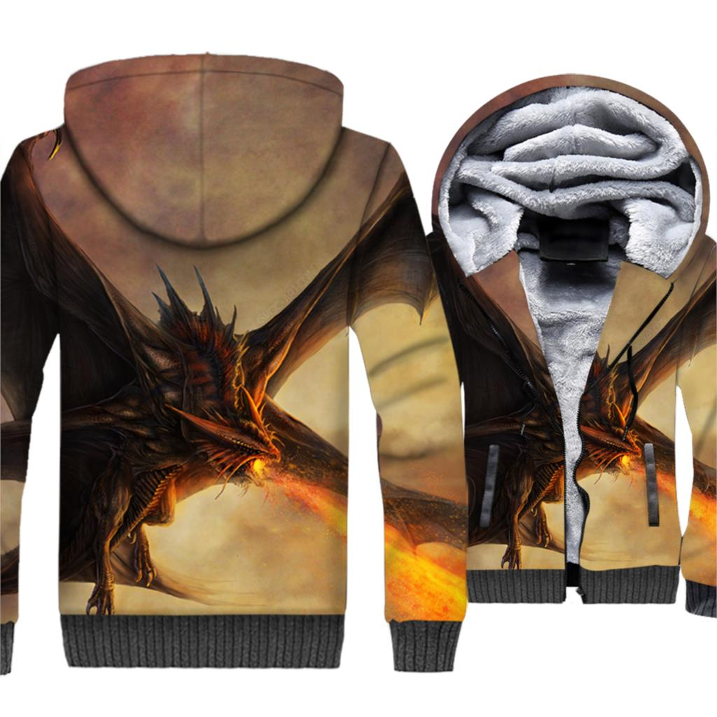 Game of Thrones Theme Dragon Print Fashion Tracksuit Thick Jacket Man Hoodies Fleece Warm Hip Hop Sreetwwear Winter Coats Tops