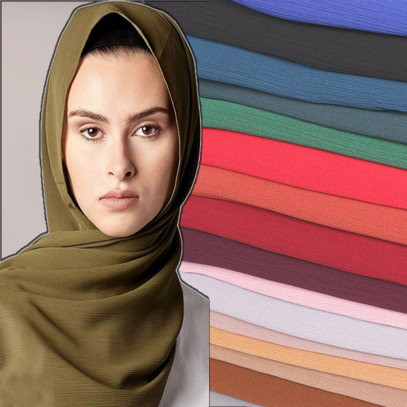 H1296 Latest big size crinkle bubble chiffon muslim long scarf women soft headwrap fast delivery