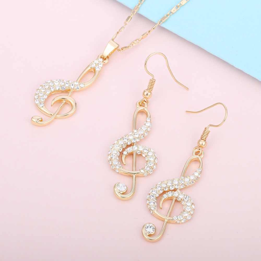 Crystal Gold Music Note Crystal Pendant Necklace Sets Music Fans Fashion Jewelry Gift Clavicle Choker Necklace For Women