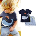 2017 Summer Boys Clothes Set Kids Cotton Cartoon Whale T-shirt + Shorts 2pcs Set Clothes Children Suit Baby Boys Clothing D014
