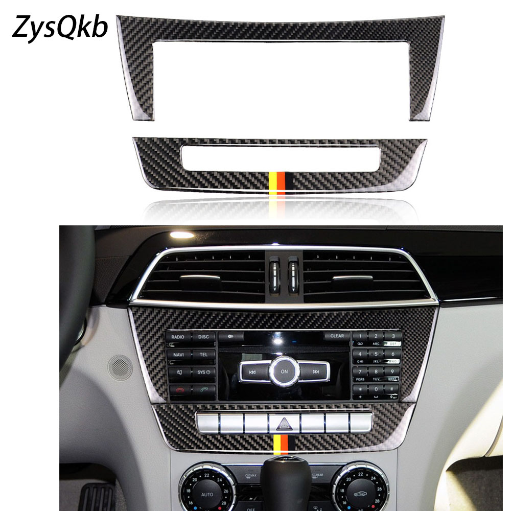 Carbon Fiber car accessories Central Control CD Plane car sticker For mercedes W204 C Class 2010 2013 car styling