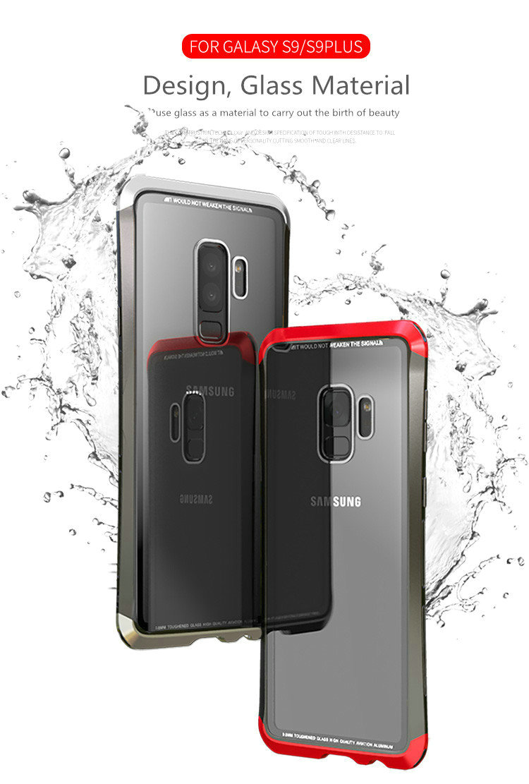 LUPHIE Case For Samsung Galaxy S9 Plus Metal Bumper Clear Tempered Glass Back Cover  (14)