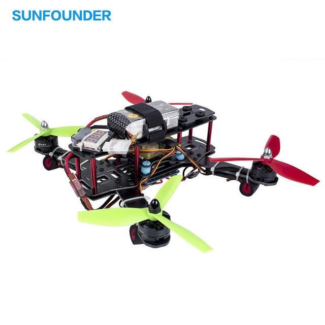 SunFounder 250 Drone FPV Quadcopter Juego de Estructura de Fibra De Vidrio Motor EMAX 12A ESC Simon MT16-S CC3D Racing 4-Axis QAV250 ZMR250