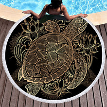 Turtles Microfiber Round Beach Towel With Macrame Luxury Black 150cm Large Round Beach Towel for Adults Beach Microfiber Towel(China)