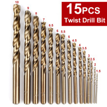 15PCS/Set Drill High Speed Steel Twist Drill Bits Woodwork Drilling Tools High speed steel + Cobalt Wood work Drilling Tools world new machine for drilling needle set lever adjustable lever 2 35mm gold plated high speed steel twist drill