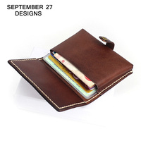 Business Card Holder Genuine Cow Leather Vintage Mini Purse Name ID Bank Card Holders Retro Small