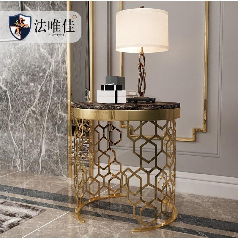 Pequena Mesa de Café com Golden Pintado Suporte De Metal e Tampo de Mármore