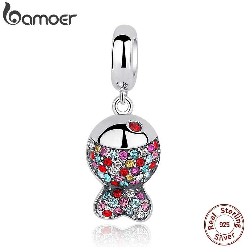 BAMOER Новая коллекция стерлингового серебра 925 прекрасный красочный Циркон Подвески-рыбки fit браслет и ожерелье SCC034