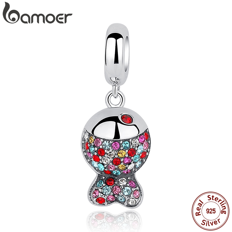 BAMOER New Collection 925 Sterling Silver Lovely Colorful Zircon Fish Pendants fit  Bracelet & Necklace SCC034BAMOER New Collection 925 Sterling Silver Lovely Colorful Zircon Fish Pendants fit  Bracelet & Necklace SCC034