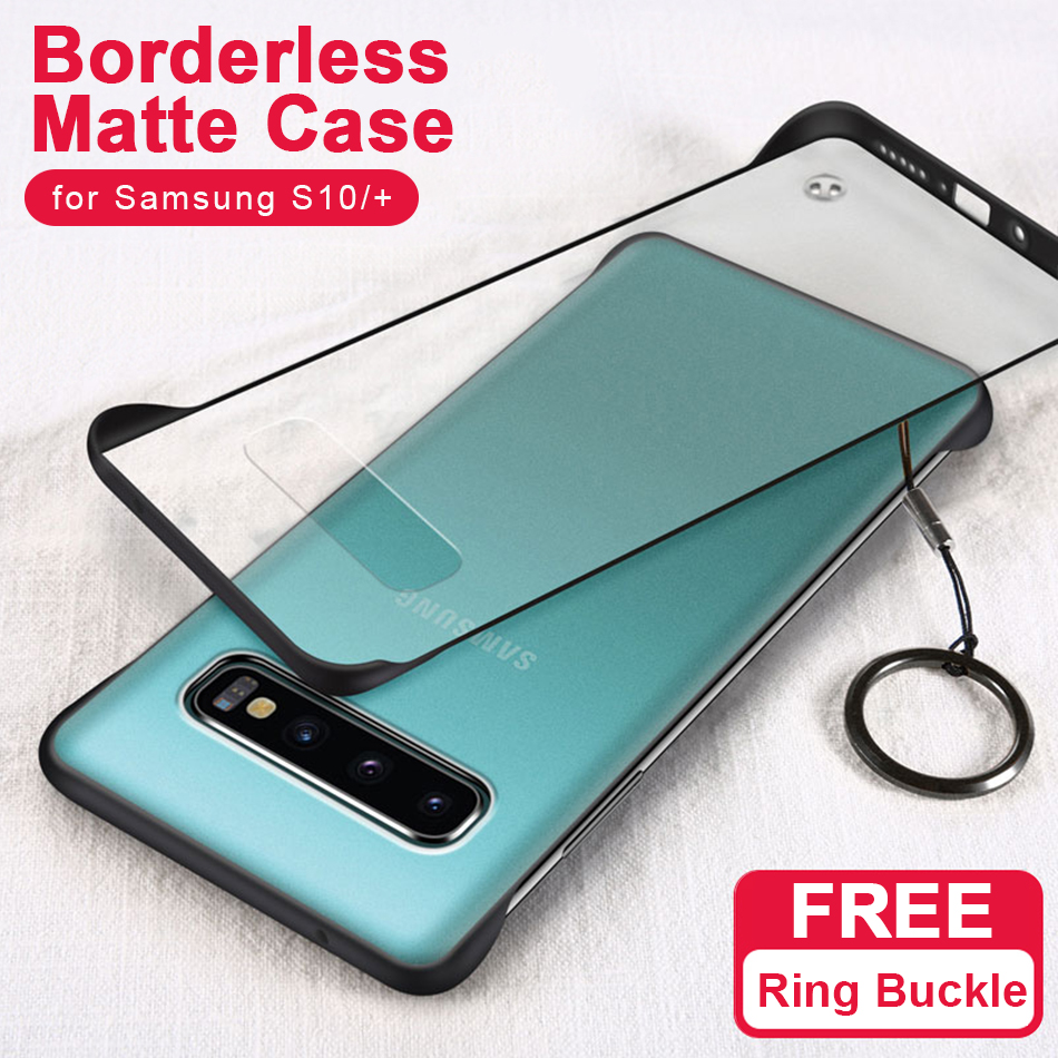 S10+ Frameless Transparent Matte Hard Phone Case For Samsung Galaxy S10 Plus Cover For Samsung Galaxy S10 With Finger Ring Cases