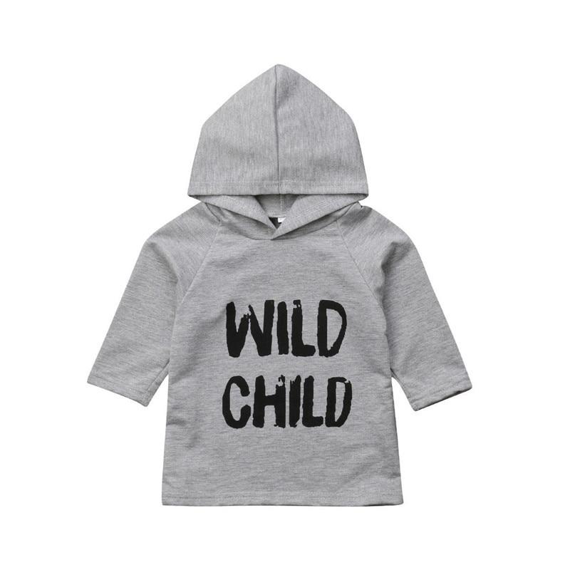 2018 Baby Junge Mädchen Kleidung Kleinkind Kinder Lange Hülse O-ansatz Pullover Top Mit Kapuze Sweatshirt Brief Drucken Hoodies Unisex Kleidung Produkte HeißEr Verkauf