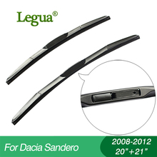 цена на 1 set Wiper blades for Dacia Sandero(2008-2012),20+21,car wiper,3 Section Rubber, windscreen, Car accessory