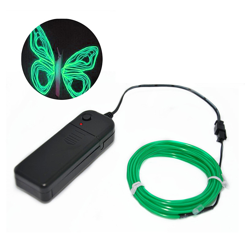 Green Neon Glowing Strobing Electro Lighting Party Decoration Luminous wire 3M length halloween casamento Glow Party Supplies DA