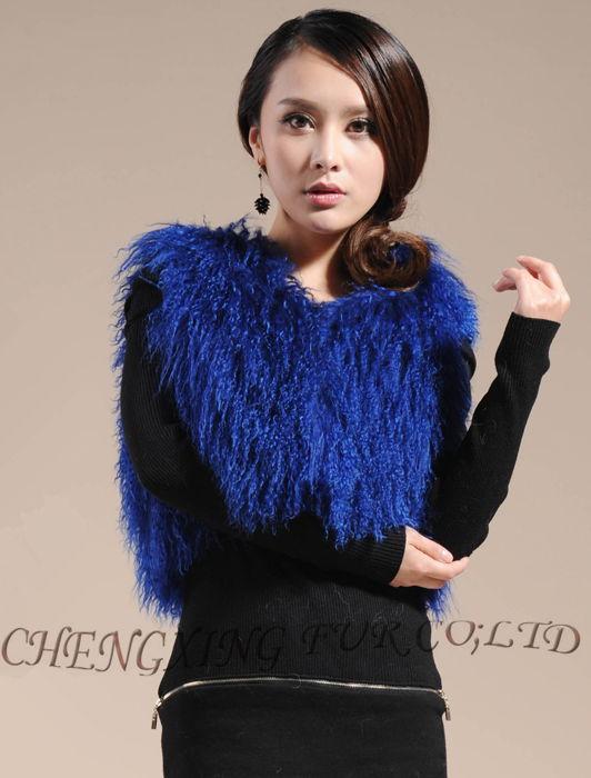 CX-G-B-51C настоящий монгольский овечка меховой жилет женский сексуальный короткий жилет зимнее пальто Меховая куртка - Цвет: Blue