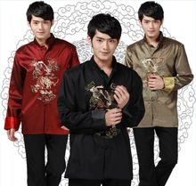 Tang suit Chinese Traditional clothes 2015 new top embroider Dragons mandarin art chinese jacket wedding kung fu clothing shirt(China)
